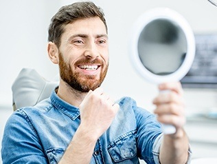 man checking smile in circle mirror