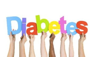 Multiple hands holding letters of the word diabetes